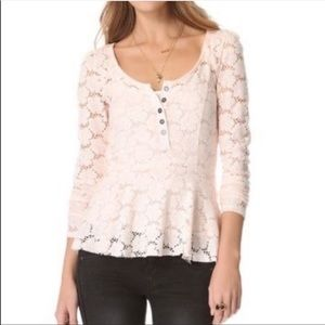 Free People Light pink lace peplum Henley top